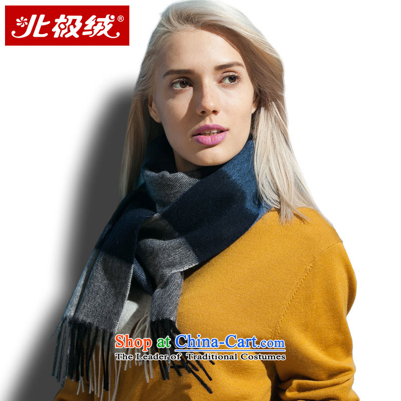 Arctic lint-free Pure Wool water marks the end of the scarf of men and women in the autumn, warm winter thick blue lagoon, grid