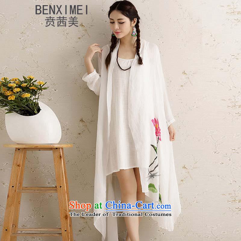 Mrs Ure American summer ben hand-painted lotus linen cardigan arts national cotton linen dress light jacket stamp shawl WhiteXL