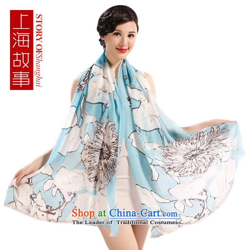 Shanghai Story hand painted pashmina shawl spring and autumn a president with two Mission expended, Blue