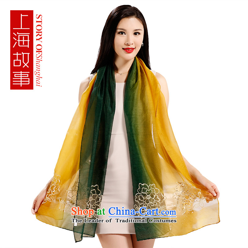 Shanghai Story silk scarves Ms. silk embroidery scarves sauna rectangular, green shawl