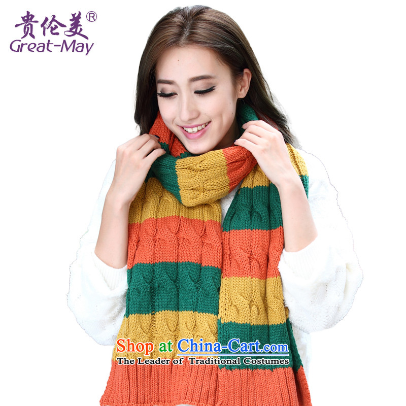 The fall of the scarf install new Korean autumn Ms. Winter twist knocked color long line of the scarf warm scurf knitting Wai Shing WJ0031 02 yellow and green orange
