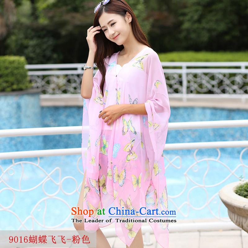 Summer UV sunscreen shawl smock female driving power cycling sunshade shawl silk scarf聽Cannula9016 Butterfly Fei Fei - Pink