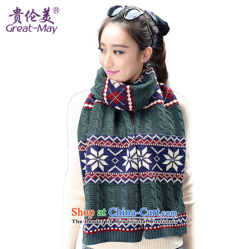 The United States and England, the snowflake winter Knitting scarves wind Fall Winter Korean female long Knitting scarves WJ0067 thick dark green Vitality