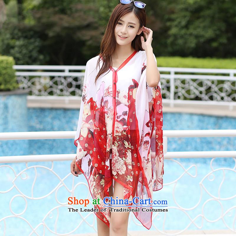Uv sunscreen shawl smock female driving power cycling sunshade shawl silk scarf9020 Beauties - Red