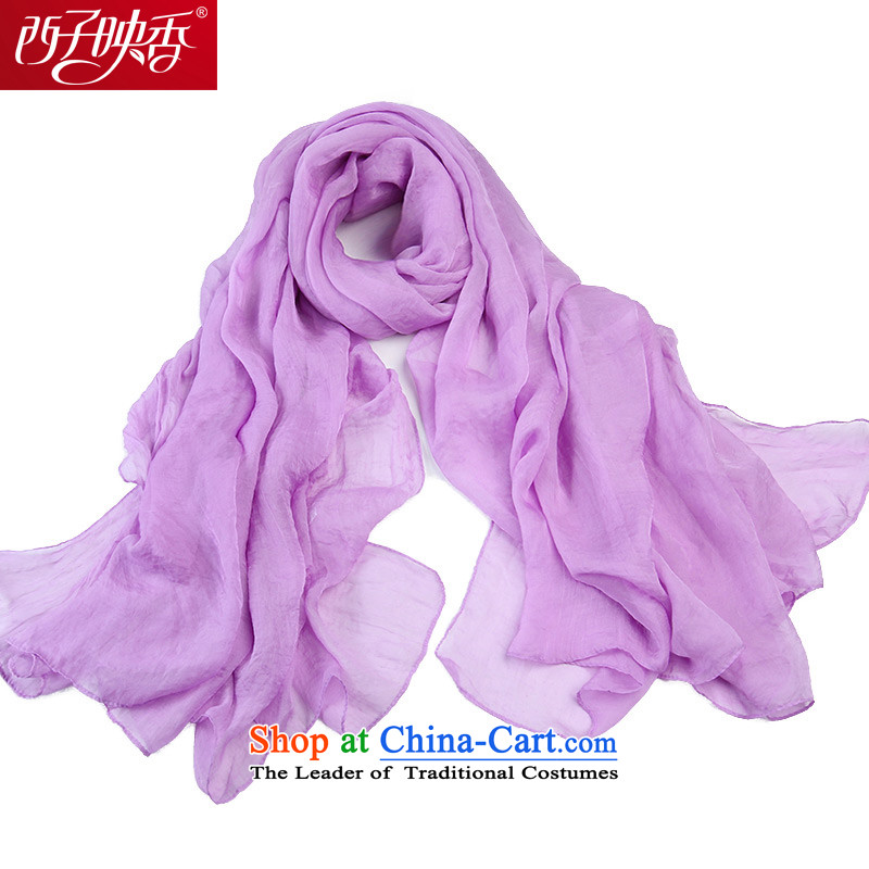 Hsitzu Hong silk scarf female spring and autumn snow filature towel female long Fancy Scarf two with women Solid Color Masks in one meter sunshine light violet