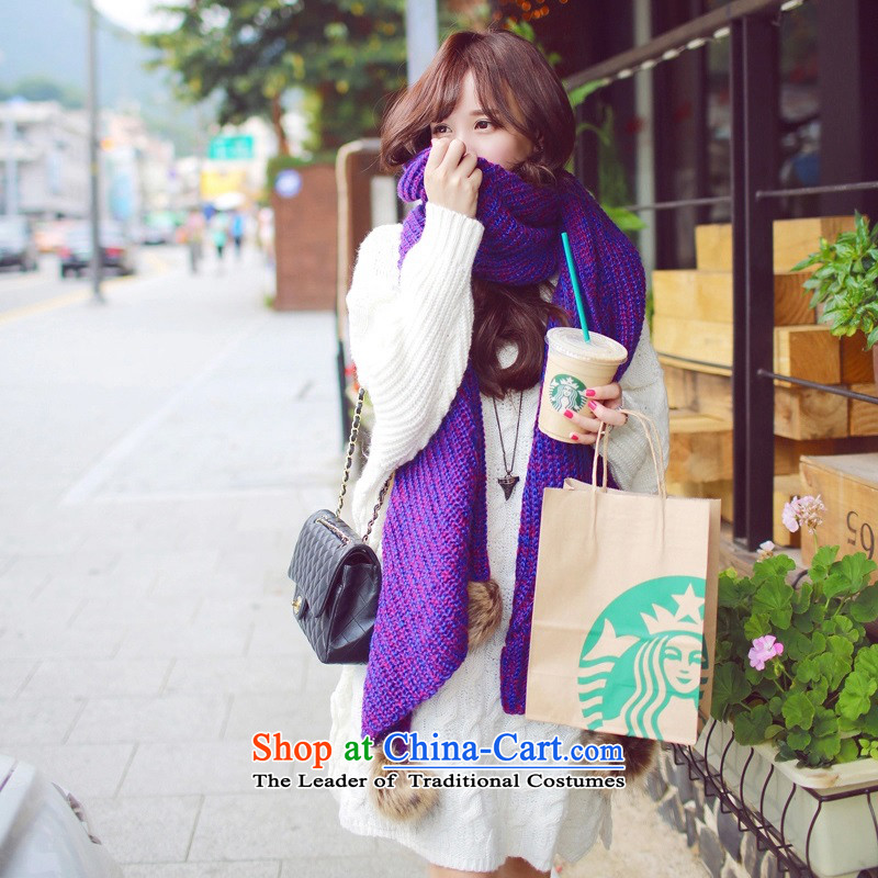 2015 new rabbit wool Knitting scarves ball of autumn and winter thick knitted warm Korean increase women cape Purple - the ball scarf