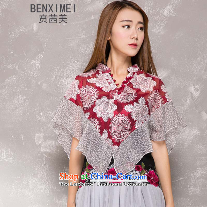 Mrs Ure US national wind ben retro asymmetric chiffon jacquard shawls-Small Clothes Summer shawl sunshade shirt suit XL