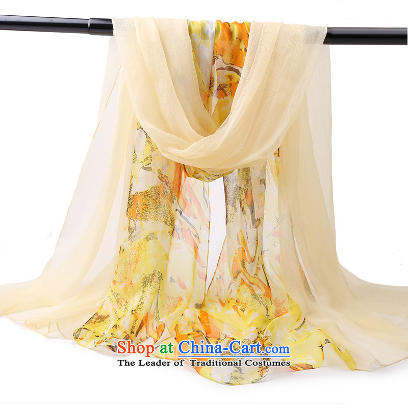2015 Autumn and winter new Korean version of dos Santos was facing her silk silk scarves sunscreen Summer Snow female Rotor spinning yarn towel air-conditioned with scarves shawl silk scarf yellow