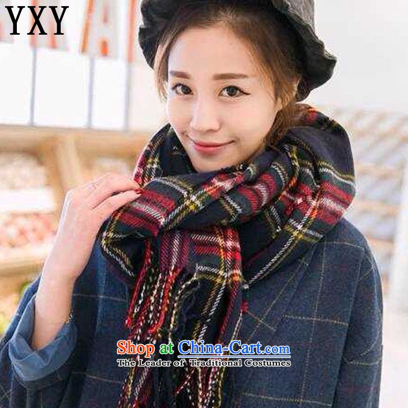 In line for autumn and winter cloud long double-sided square shawl scarf stylish warm latticed edging emulation pashminaMC014Navy