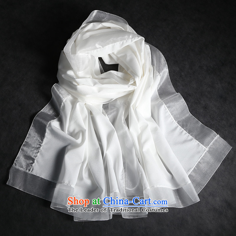 Oguston of big new Korean female autumn and winter pure color stitching long silk scarfs warm large sauna silk scarves pure white