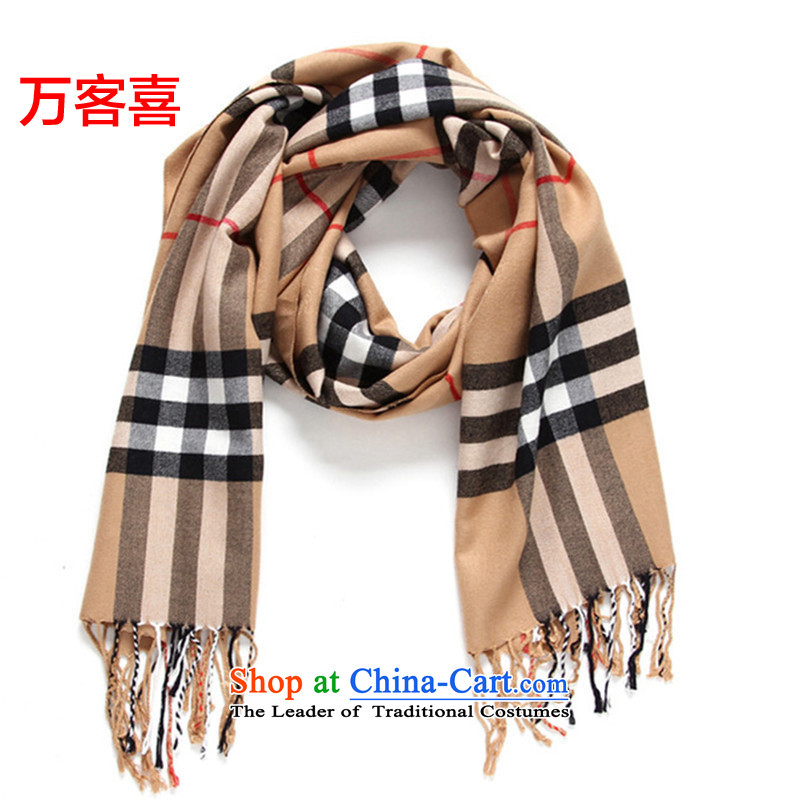 Guest-hi scarf girls million autumn and winter thick emulation cashmere shawls, latticed khaki-colored_