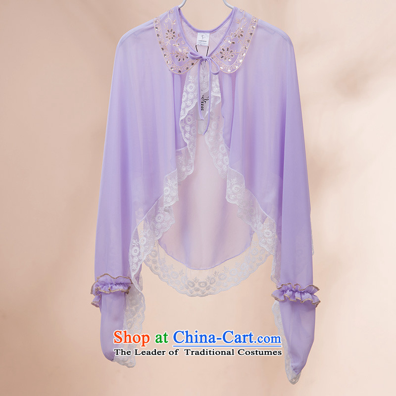 Oguston of Korean new women's summer chiffon lace stitching sunscreen shawl long solid color shade riding Sun Yi Light Violet