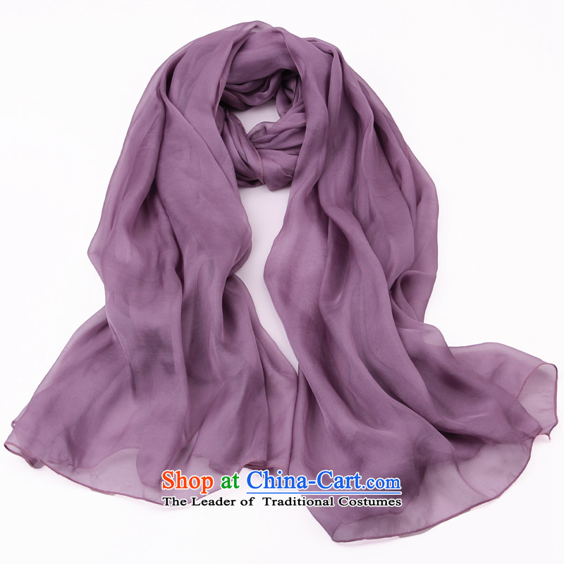 Shanghai Story silk scarves female summer herbs extract scarf long solid shawl Purple