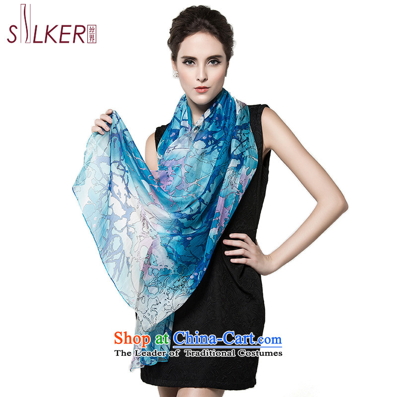 Sigi's autumn population of the new president of silk scarves stretch marks stamp herbs extract shawl Dancing Blue