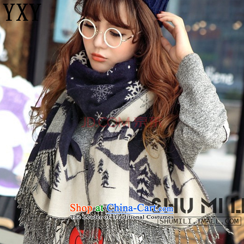 The date of death row cloud Christmas snowflake emulation pashmina couples with two large blue scarf MC024 shawl