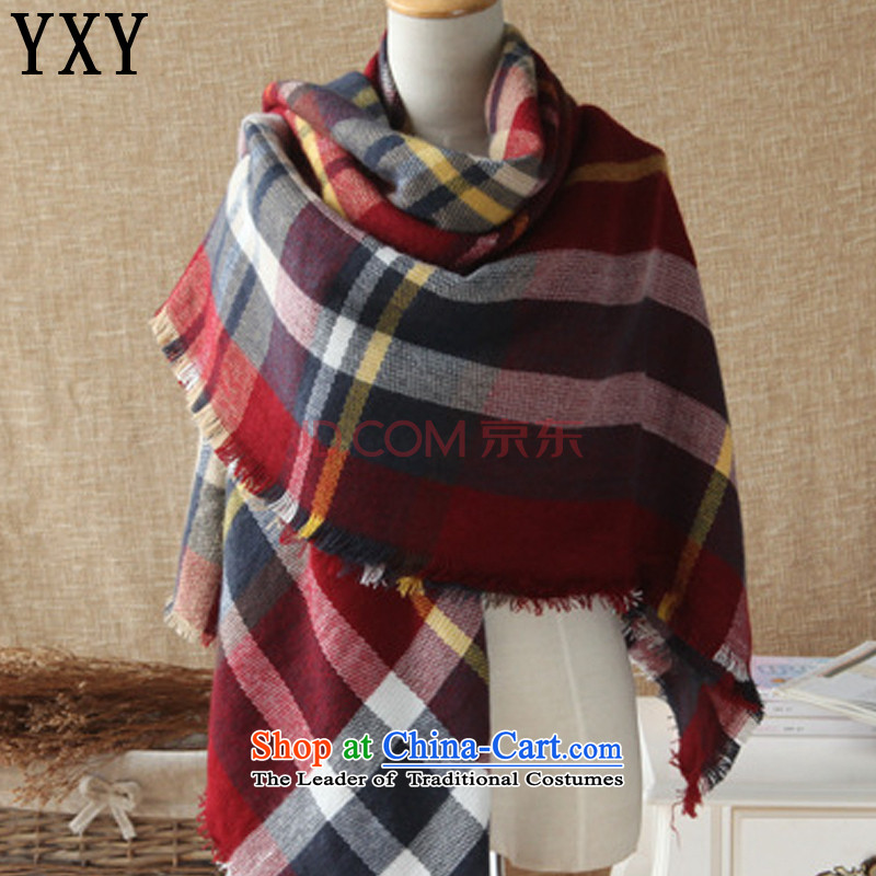 In Europe and the cloud top line retro rainbow latticed scarf wild cashmere shawls and classy towel emulation MC001 red grille
