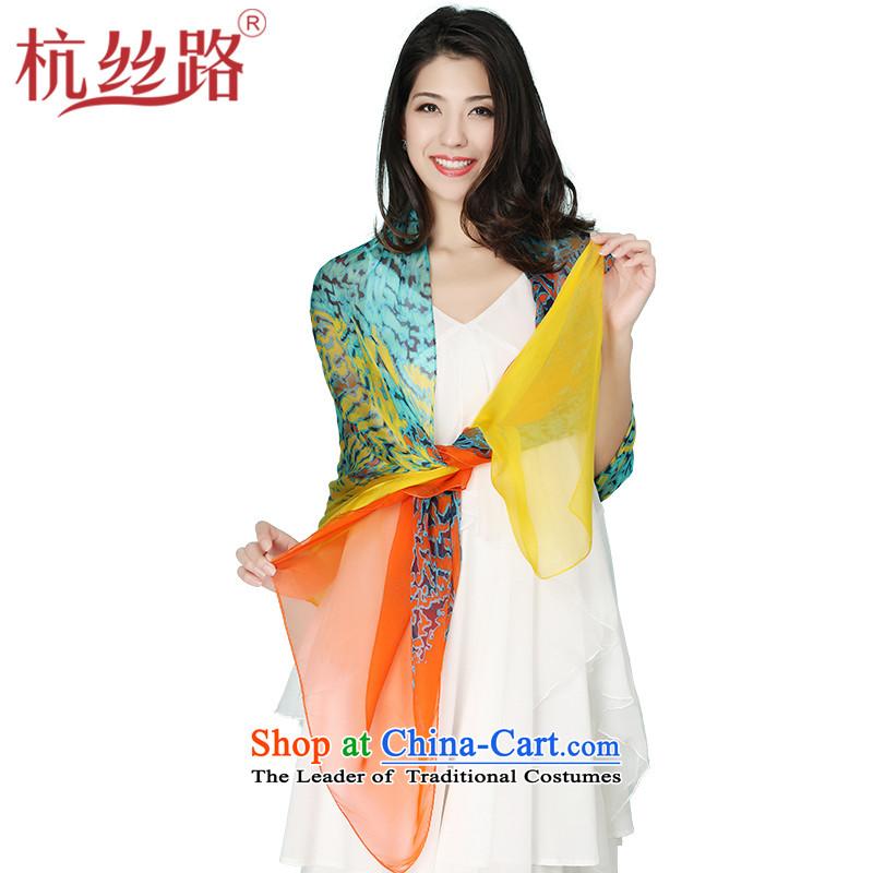 Alejandro Toledo Silk Road silk scarves female summer long sunscreen shawl sauna Jamsil scarf western sexily blue leopard