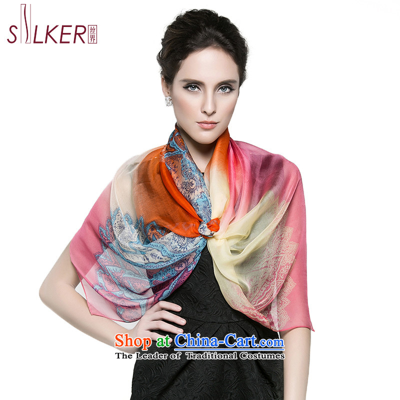 The population sector autumn new president long silk scarf silk shawls air-conditioning stamp herbs extract scarf spend a hymn of Pink