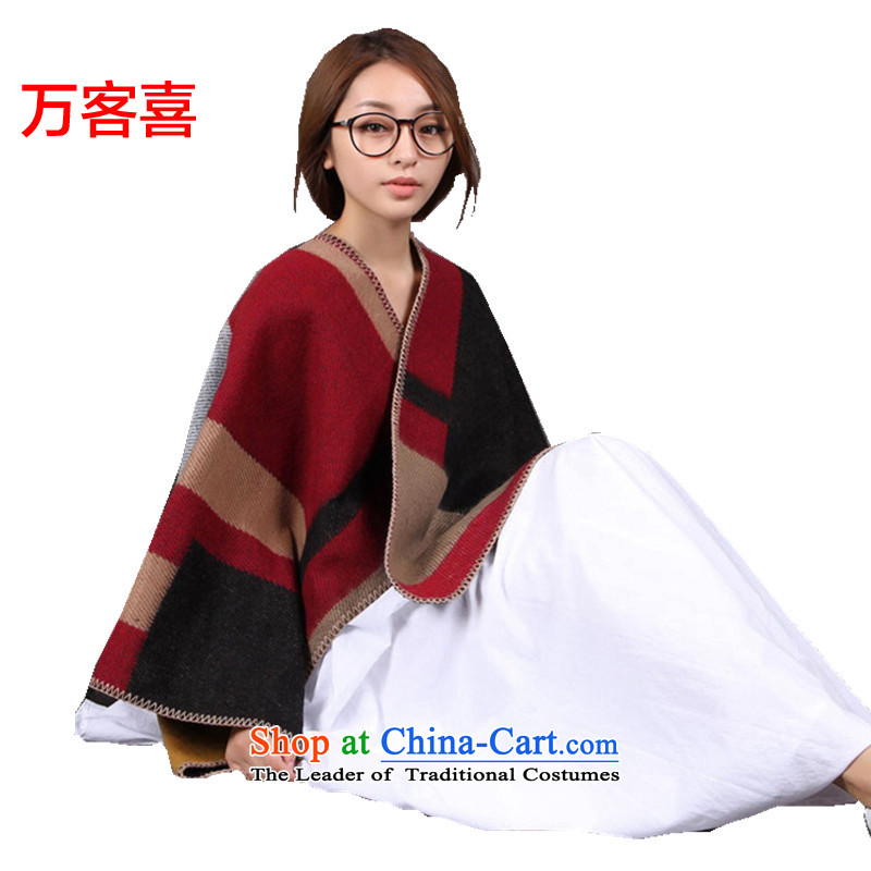 Guest-Hi Ms. scarves million autumn and winter, two in Korean version of shawl thick emulation cashmere latticed England)