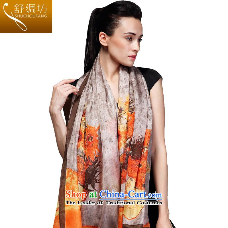 Had to hold workshop on silk Shu upscale silk scarves, silk scarfssilk shawls dos Santos workshops 100% long masks in Hangzhou in spring and autumn4313winter sunflower - Gray