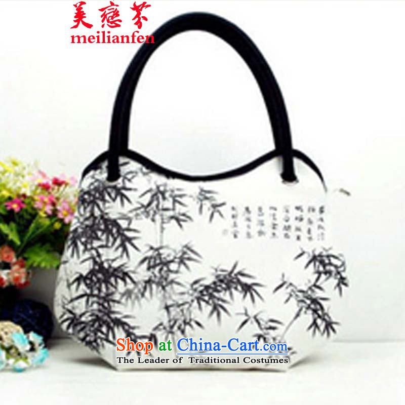 The Land Law, the United States of   ethnic Chinese ink painting D stylish bag features hand-painted package Ms. canvas bag package N915-a_a04 Army Green