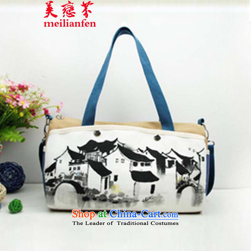 The Land Law, the United States of   ethnic Chinese ink painting frescoes D stylish single shoulder bags hand-painted package canvas bag Ladies Bag package N915-a_p03 Picture Color