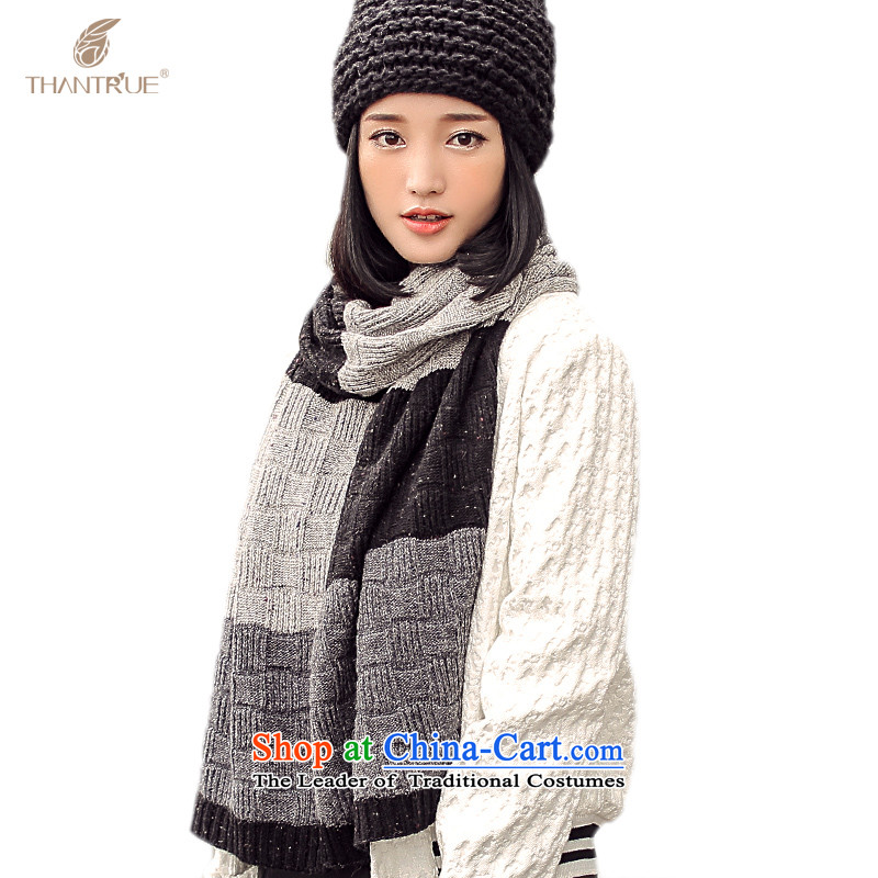 Ms. enjoy true autumn and winter leisure warm color Knitting scarves W055 collision black/gray stripes