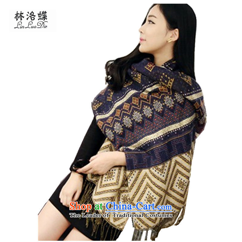 The New Wing Lam Korean version of autumn and winter ethnic long Ms. shawl cotton linen, the flow of air-conditioning with two shawls scarves extension shawl scarf of filigree edging navy blue