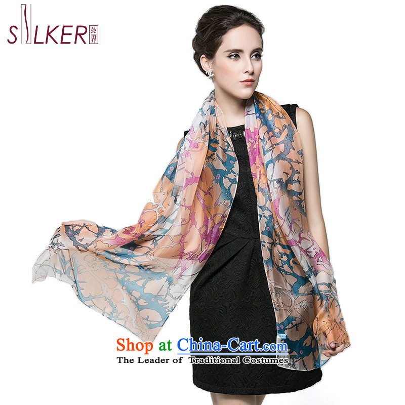 The population sector SIGI autumn and winter herbs extract new silk scarf shawl Ms. stamp with two dancing beige
