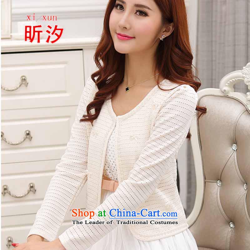 The litany of desingnhotels _2015 autumn new engraving shawl sweet lace nail pearl wild short Korean female _5807 whiteL