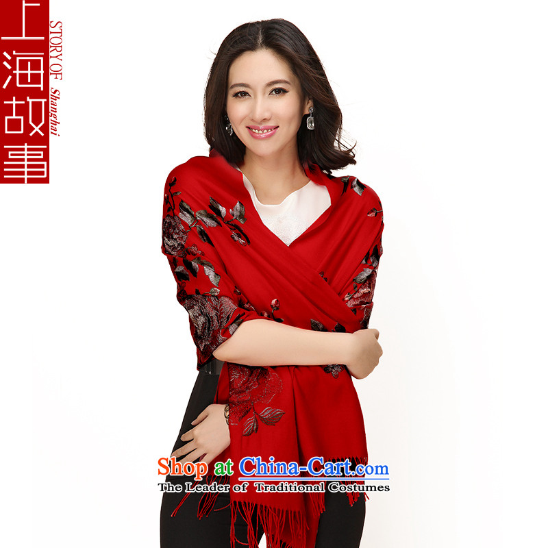 Shanghai Story 2015 autumn and winter new products gold wire wool shawl embroidered Ms. Mudan Red