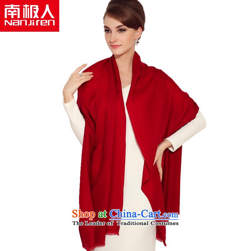 _nanjiren Antarctic_ wool scarf female autumn and winter thick stylish wild warm dark red shawl