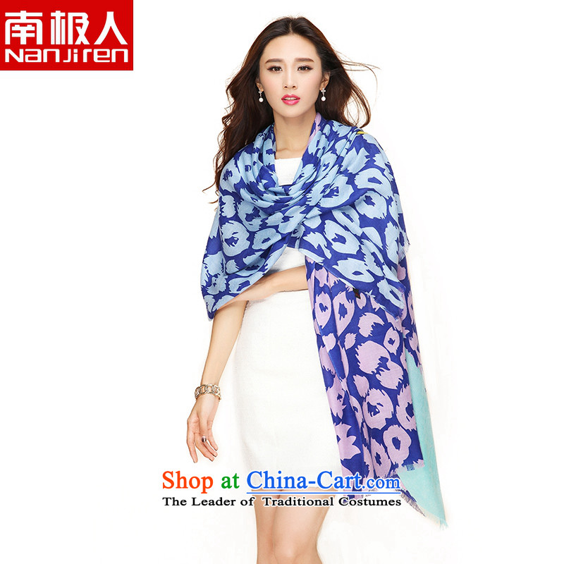 _nanjiren Antarctic_ Ms. wooler scarf wild with two-long stamp shawl color leopard point blue-violet