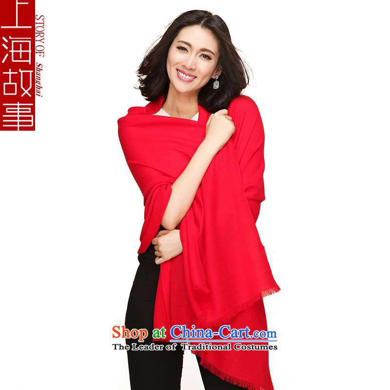 Shanghai Story autumn and winter solid twill encryption Ms. warm wooler scarf red