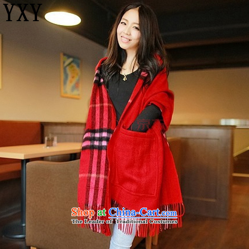 The end of the light grid wind of England scarf Ms. wool double-sided pockets warm shawl scarfMC025red