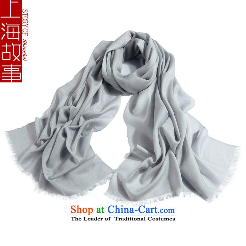 Shanghai Story Ms. wooler scarf autumn and winter increase bandwidth solid gray woolen shawl