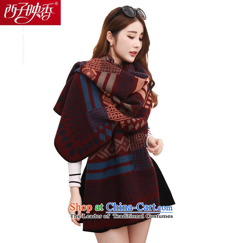 Hsitzu Hong scarf female autumn and winter warm thick Korean a scarf can penetrate shawl 3454 Mai-mai diamond dark red