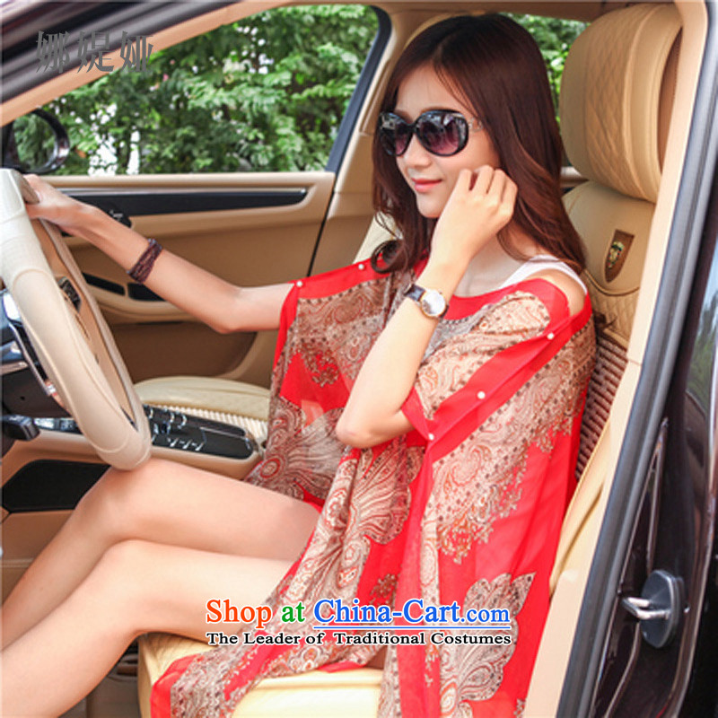 The customers of all Korean Mireya Moscoso chiffon sunscreen shawl long beach silk scarf summer air-conditioning electric car ride the red flower cashew nuts