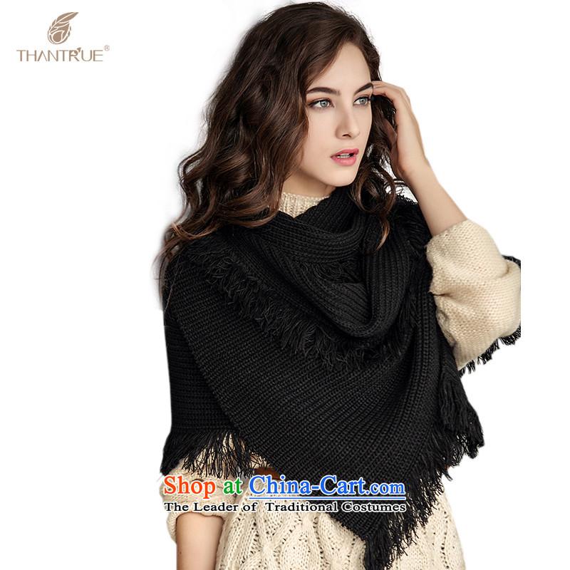 Enjoy true autumn and winter thantrue stylish warm women Thick edging scarf W001 black