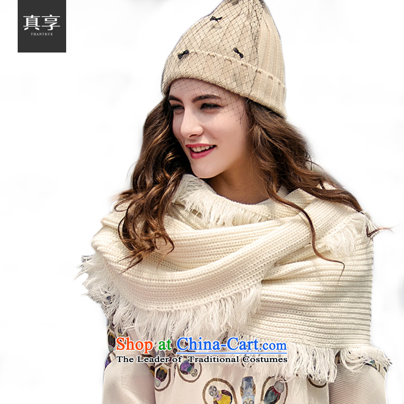Enjoy the stylish autumn and winter really warm women Thick edging scarf W001 Cream
