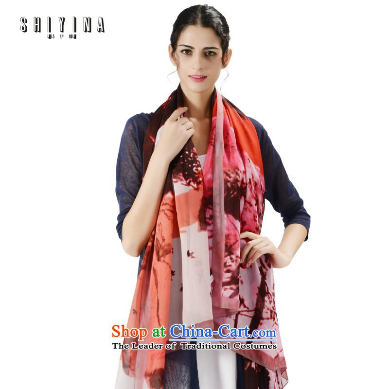 Ms Ina (shiyina) long winter female sauna silk scarf silk scarf Sleek and versatile silk shawls Korean Stamp deep red