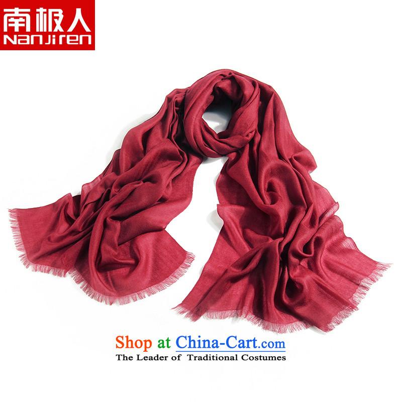 The Antarctic _nanjiren_ Solid Ms. pashmina warm-long air-conditioning shawl a dark red