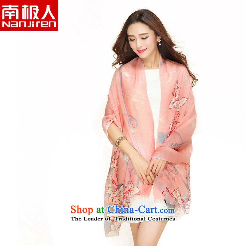 _nanjiren Antarctic_ wool scarves, stylish stamp long shawl a dual-use flowers and leaves Yenping Pink