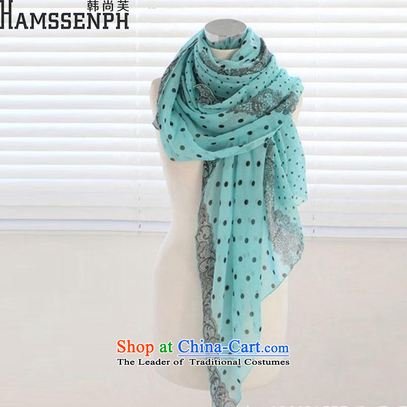 Korea has yet to 2015 Voile scarf large long-haired girl spring and autumn sun silk scarf beach towel wave point dot XF820 lake blue are code