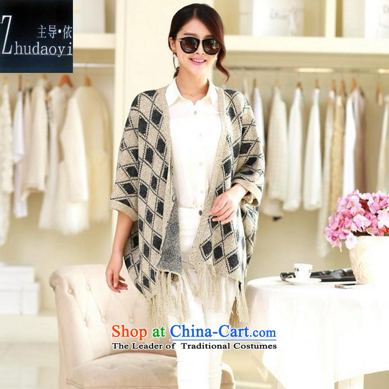 In accordance with the 2015 autumn led installed new lady knitted shirts latticed shawl flow under the Soviet Union Cardigan loose coat 9438 m White