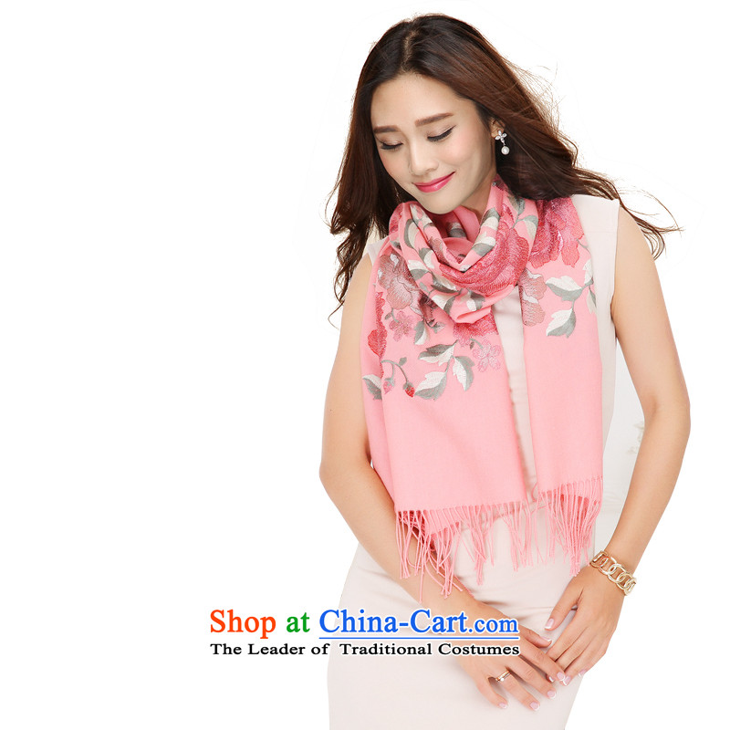 Antarctic people gold wire wool embroidery female shawl Mudan ethnic twill stylish warm pink scarf