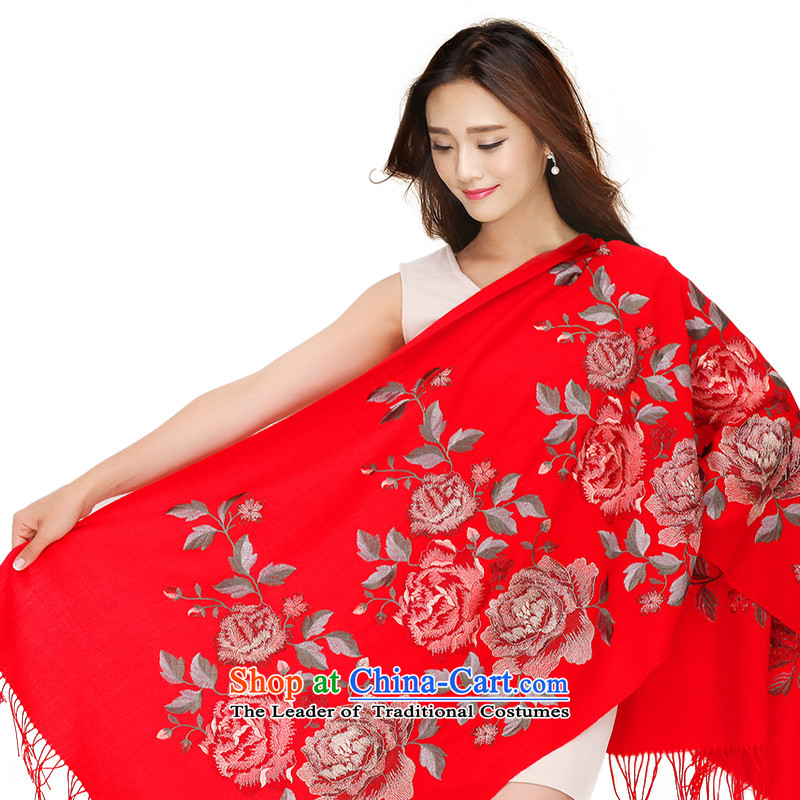 Antarctic people gold wire wool embroidery female shawl Mudan ethnic twill stylish warm red scarf