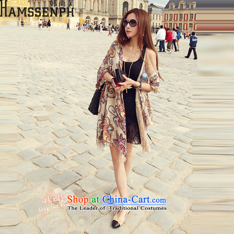 Korea has yet to 2015 Spring/Summer new scarf female retro ethnic totem shawl silk scarf scarf XF811 picture color code