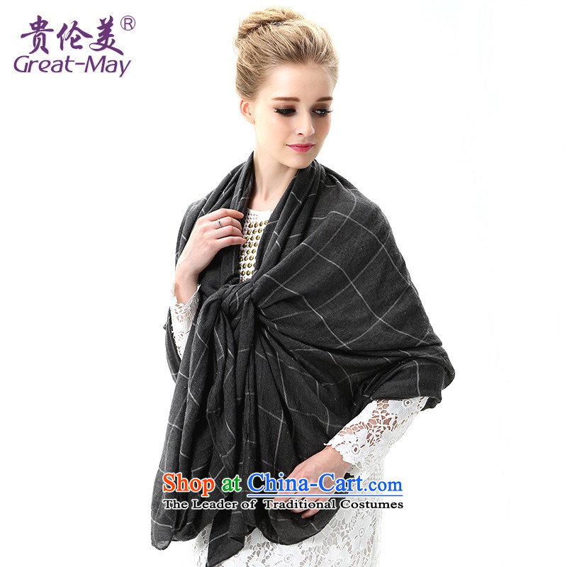 The Korean version of Ms. greatmay sunscreen long air-conditioned shawl scarves with two spring and autumn latticed silk scarf oversized sunscreen beach towel SJ0052 soot plaid