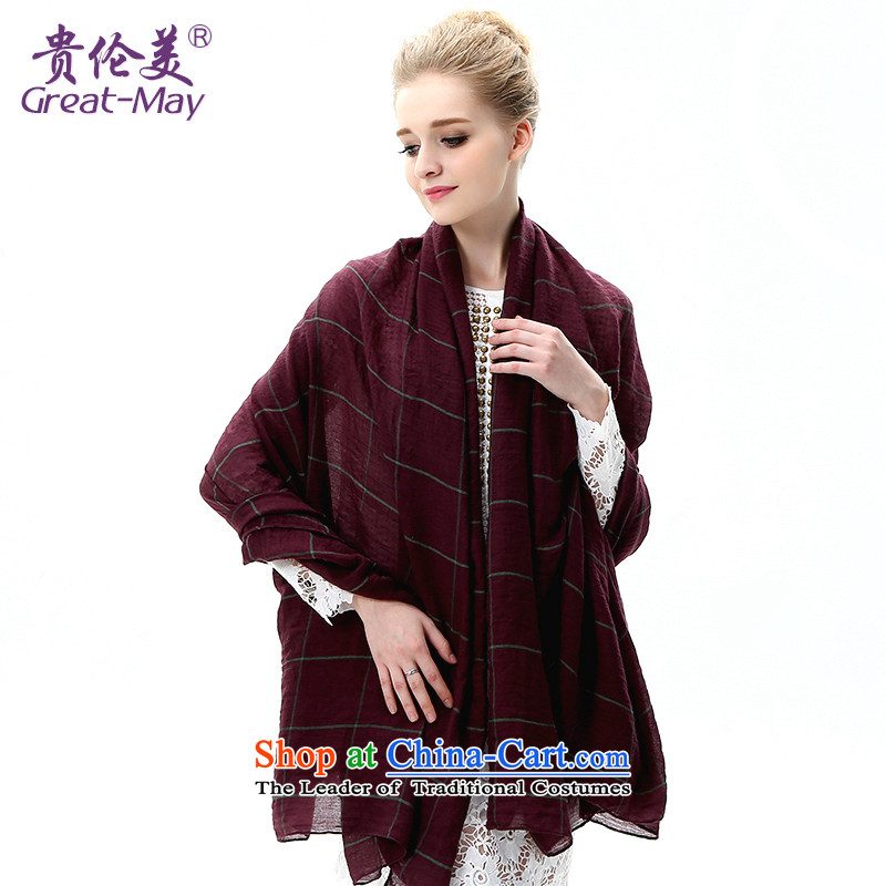 The version of the US-rok, President sunscreen long air-conditioned shawl scarves with two spring and autumn latticed silk scarf oversized sunscreen beach towel SJ0052C07A05 wine red plaid